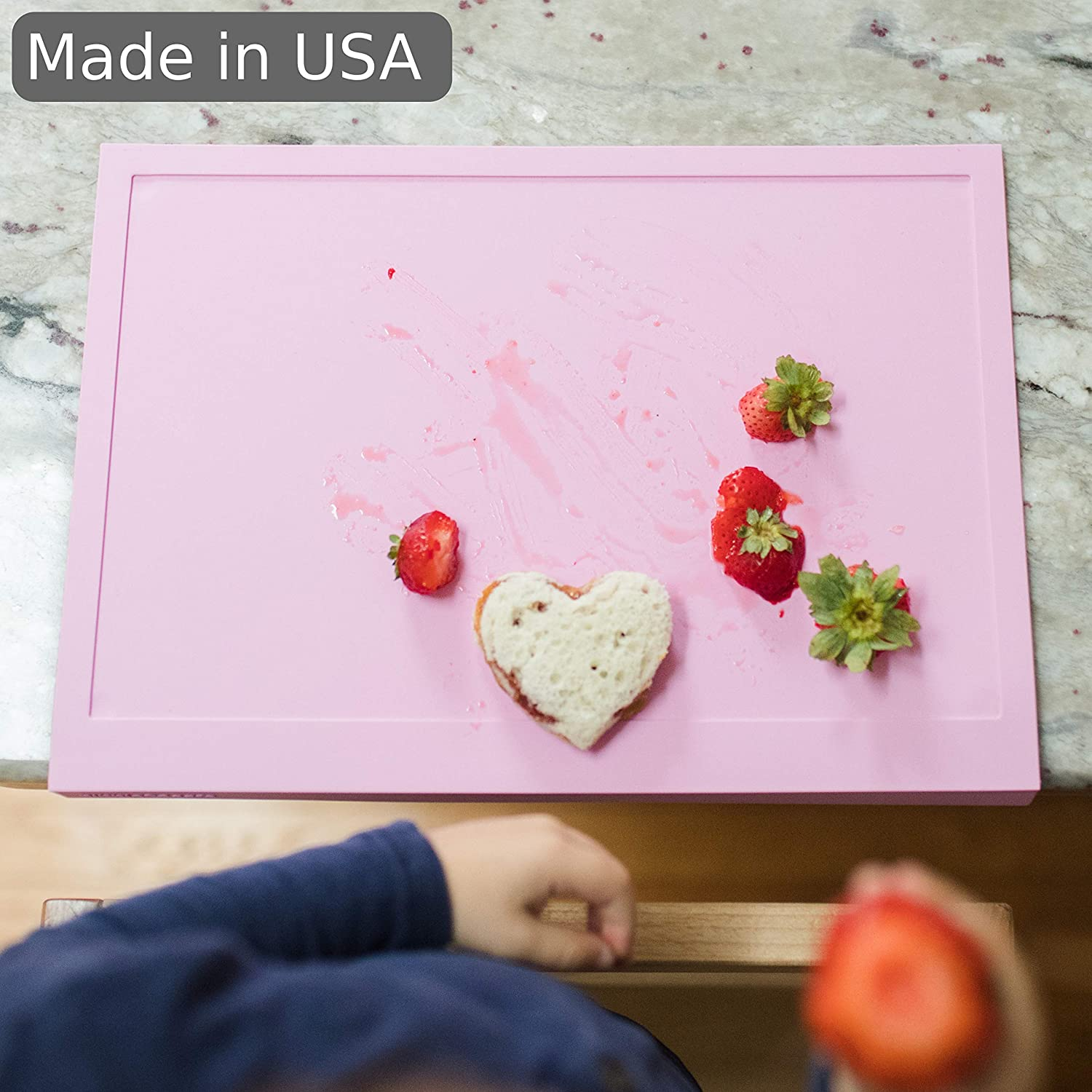Perfect for Baby and Toddler at Restaurant and Home Nibble Safe Baby Silicone Placemat with Suction Cups and Table Edge Guard Gray Made in USA