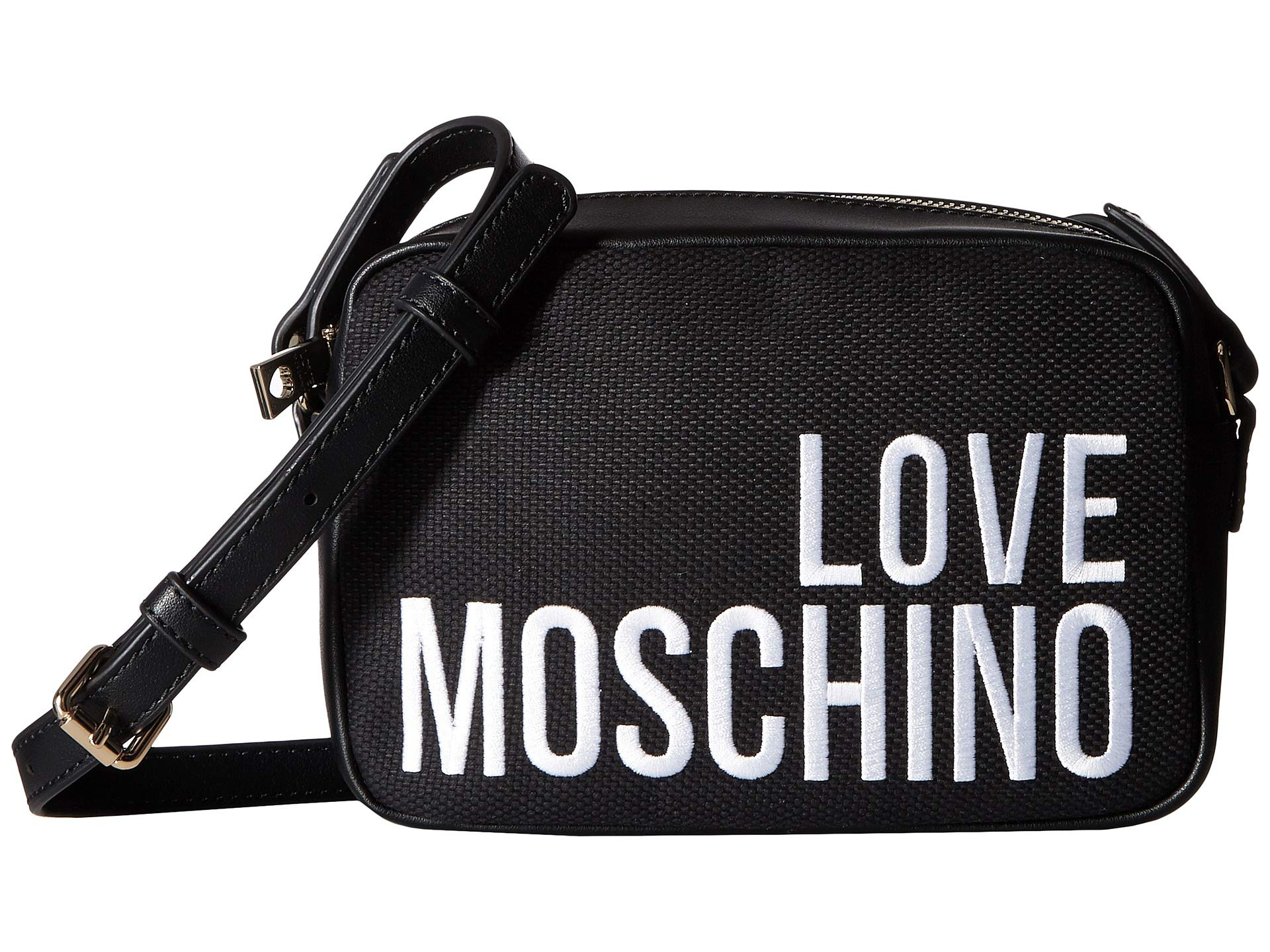 Love Crossbody Embroidery Canvas Moschino Black v1q6OxBw1