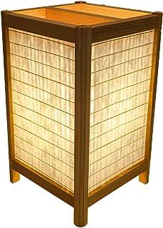 手作り角行灯300デザイン 和紙+塩ビプレート LED電球付 高さ30cm 職人手作り行灯 (和紙楮/麻格子) KAD300-010