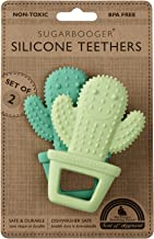 Sugarbooger Silicone Teether Set-of-Two, Happy Cactus