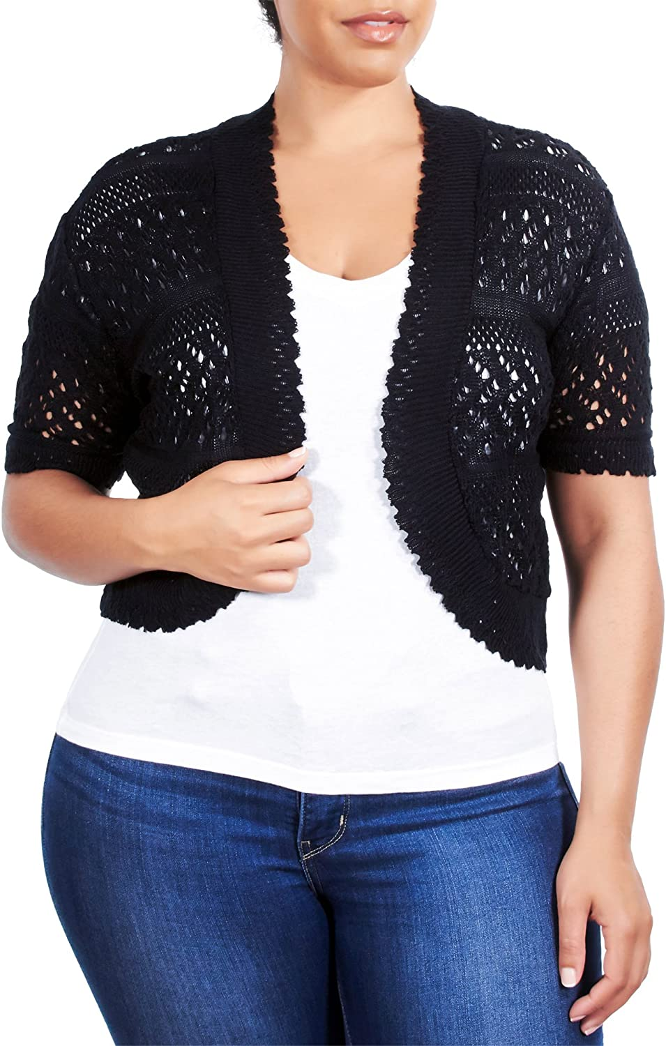 See More Colors and Sizes Knit Minded Womens Plus Size Womens Acrylic Pointelle Knit Bolero Jacket