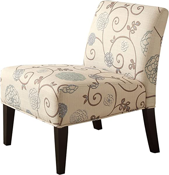 Homelegance 468F25S Lifestyle Armless Lounge Chair Floral Fabric