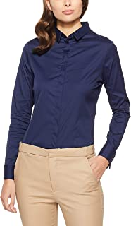 Oxford Women's Angel French Cuff Stretch Shirt, Navy