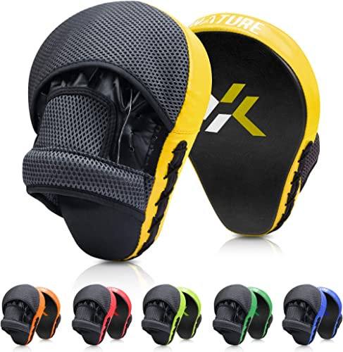 Xnature Essential Curved Boxing MMA Punching Mitts Boxing Pads w/Gift Box Hook & Jab Pads MMA Target Focus Punching M...