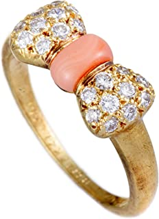 Van Cleef & Arpels 18K Yellow Gold Diamond and Coral Bow Ring