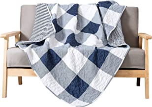 Soul & Lane Checks and Stripes Printed Quilted Throw Blanket (50