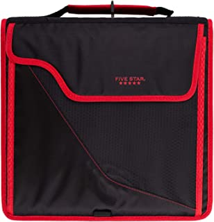 Five Star Sewn Zipper Binder, 3 Inch 3 Ring Binder, Expandable Plus Removable Padded Device Case, Red/Black (29296CE8)