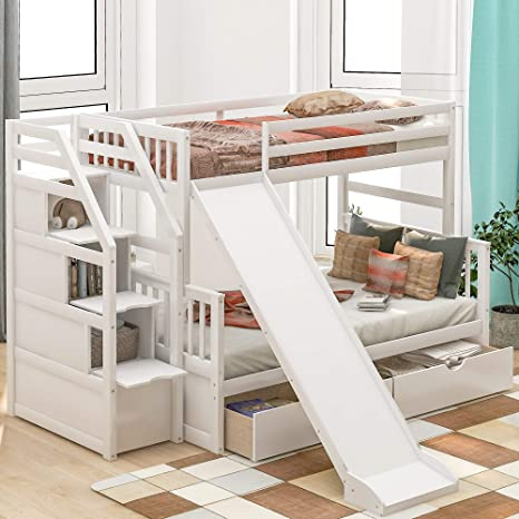 Amazon Com Twin Over Full Bunk Bed With Storage And Slide Stackable Wood Twin Over Full Bunk Bed For Kids Kitchen Dining