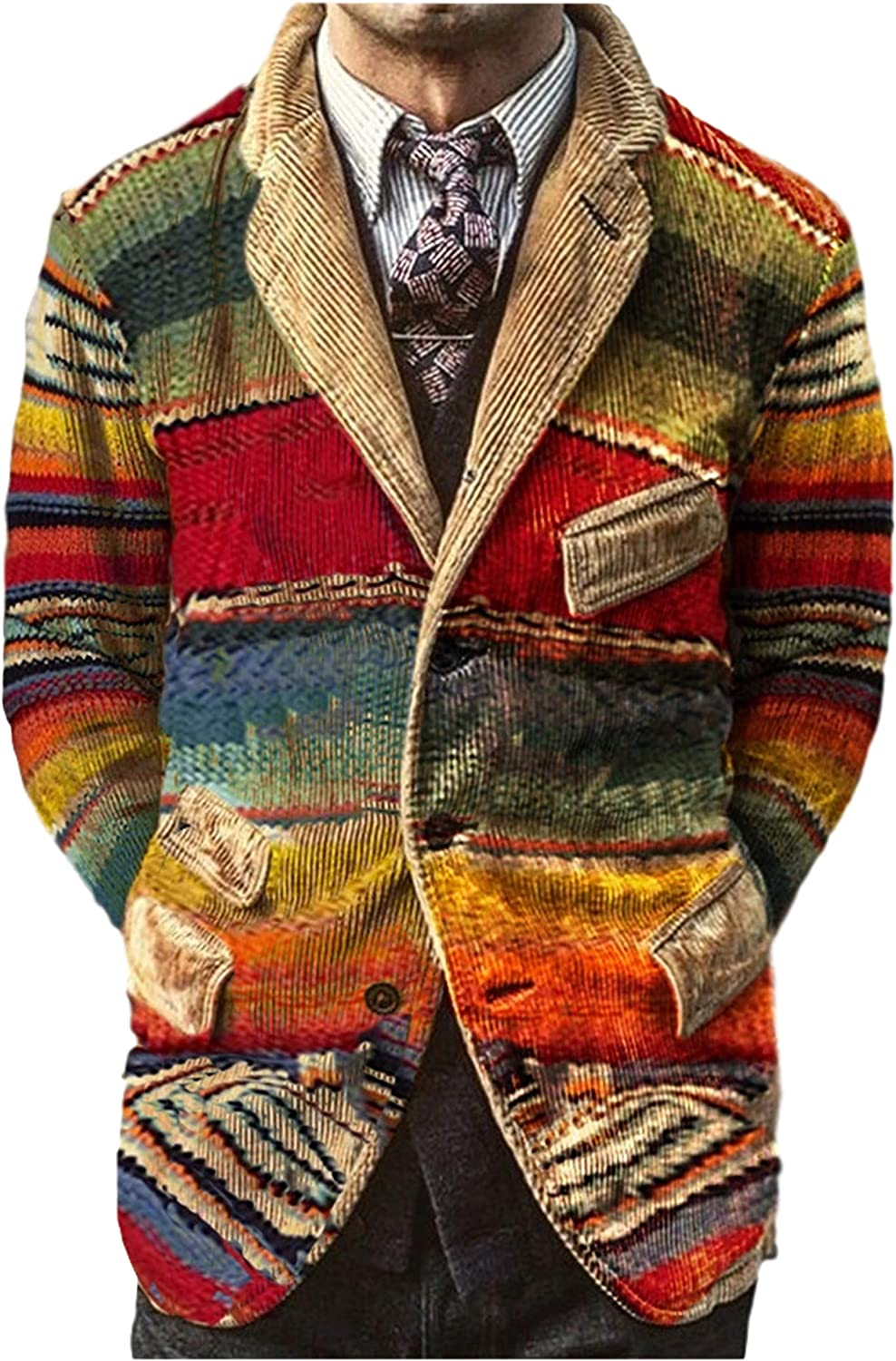 Uaneo Men's Corduroy Printed Casual Notched Lapel Long Sleeve Blazer Suit Jacket(Multicolored-XS)