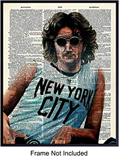 Upcycled John Lennon Graffiti Dictionary Wall Art Print, Street Art Mural - 8x10 Unframed Photo - Great Gift for 60's Music and Beatles Fans - Chic Home Decor, Room Decorations
