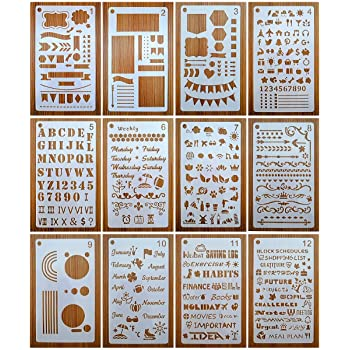 Journal Stencils, Journal Planner Stencils Set 12 Pack for A5 Notebook & Most Journals, Includes Letter Stencil, Number Stencils, Drawing Stencils, Icons, Charts, Shapes for Bujo