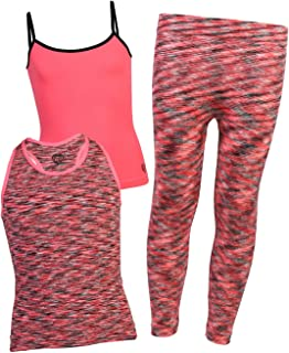 Girls 3-Piece Athletic Tank Tops and Leggings Set