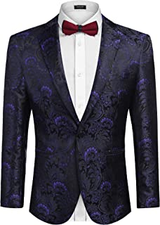 COOFANDY Men's Floral Blazer Jacket Luxury One Button Dress Suit Slim Fit Dinner Tuxedo