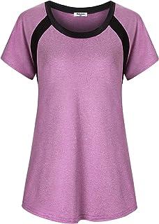 Bobolink Women's Short Sleeve Yoga Tops Dri Fit Workout Running Shirts