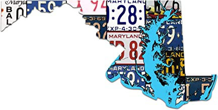 product image for MARYLAND License Plate Plasma Cut Map Sign, TREASURE THE CHESAPEAKE Metal Sign Garage Art Great Gift Man Cave Plasma Cut Aluminum UV Printed Rustic Sign Birthday Gift Patriotic Sign Holiday Gift