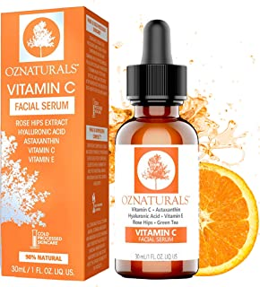 OZNaturals Vitamin C Serum For Face with Hyaluronic Acid - Anti Aging Serum & Hyperpigmentation Treatment With Pure Vitamin E Oil and Rosehip Oil - All Natural Antioxidant Facial and Skin Serum For A Brighter, Even Skin Tone - 1 Fl Oz