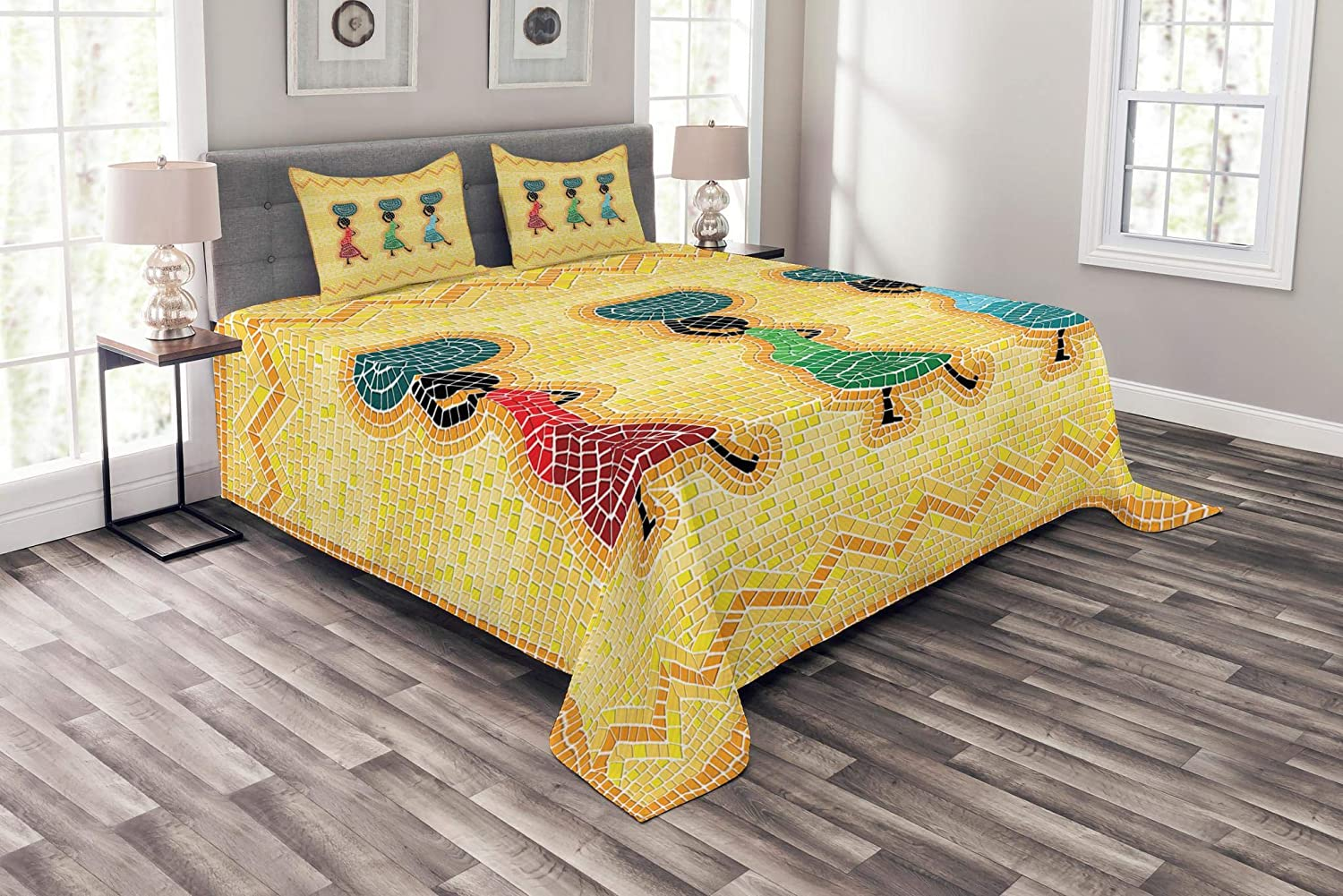 Lunarable African Max 50% OFF Bedspread Mosaic Pattern an Miami Mall Women Ca Scene of