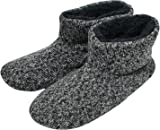 KuaiLu Knit Wool Warm Men Indoor Pull On Cosy Memory Foam Slipper Boots/Booties TPR Rubber Sole Non-Slip Black 10 UK