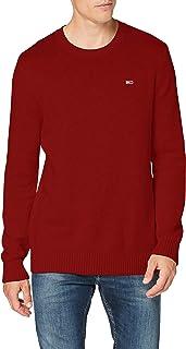 Tommy Jeans Tjm Essential Crew Neck Sweater Maglione, Rosso Vinaccia, XL Uomo