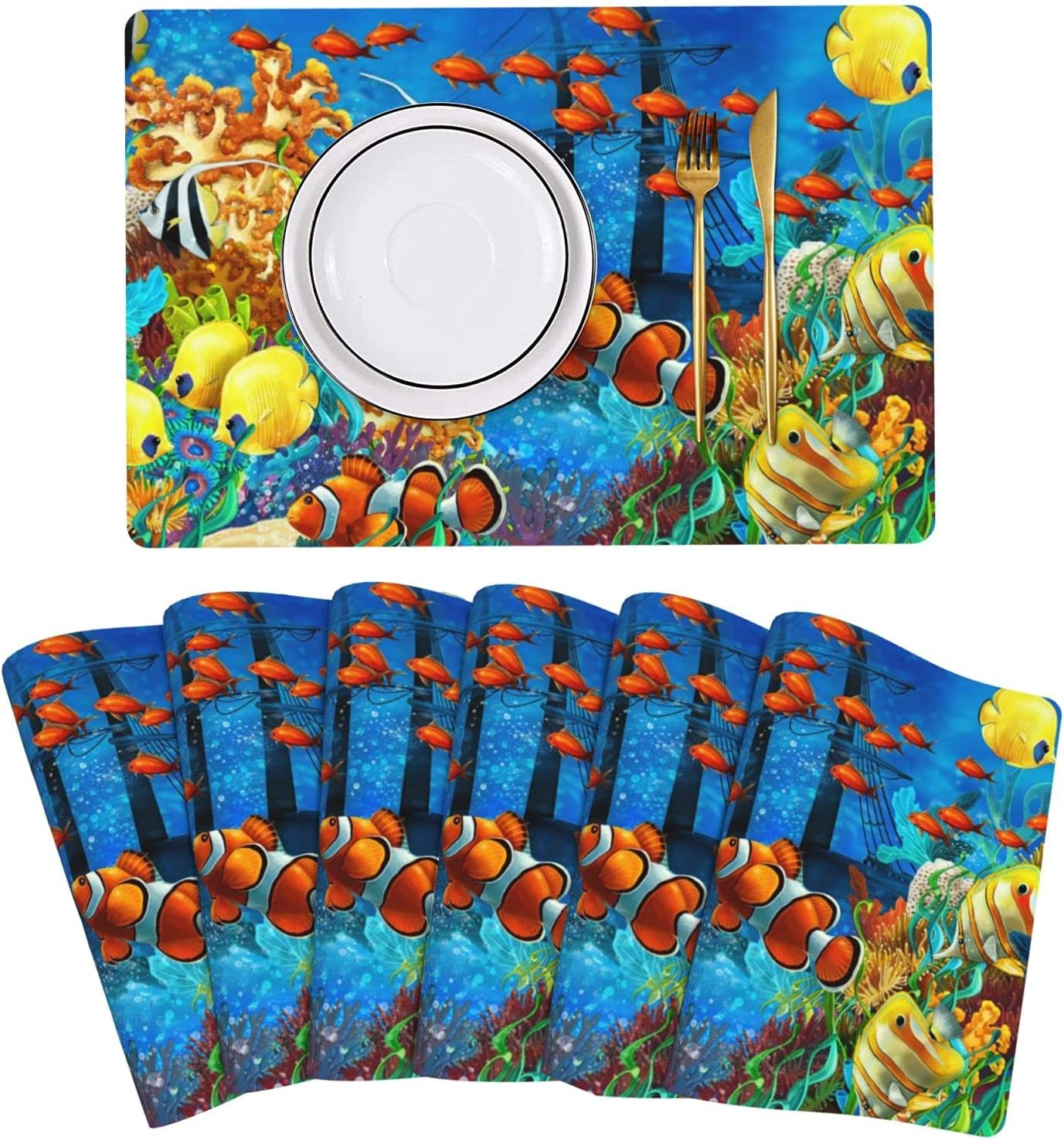 Ocean Tropical Fish Coral Undersea Complete Free Shipping Rare Leather T World Placemat