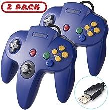 kiwitatá 2 Pack N64 Classic USB controller,N64 Bit Retro USB PC Wired Game Controller Gamepad for Windows PC & Mac & Raspberry Pi Blue