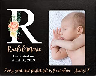 """LifeSong Milestones Personalized Baby Birth Newborn Announcement Arrival Photo Frame with Stats and Monogram Blessing for Child 8"""" x 10"""" Picture Frame Holds 4"""" x 6"""" Photo Every Good (Bouquet Black)"""