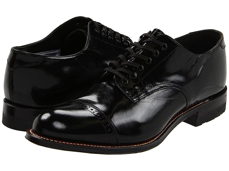 Edwardian Men's Shoes- New shoes, Old Style Stacy Adams Madison Cap Toe Black Mens Dress Flat Shoes $120.00 AT vintagedancer.com