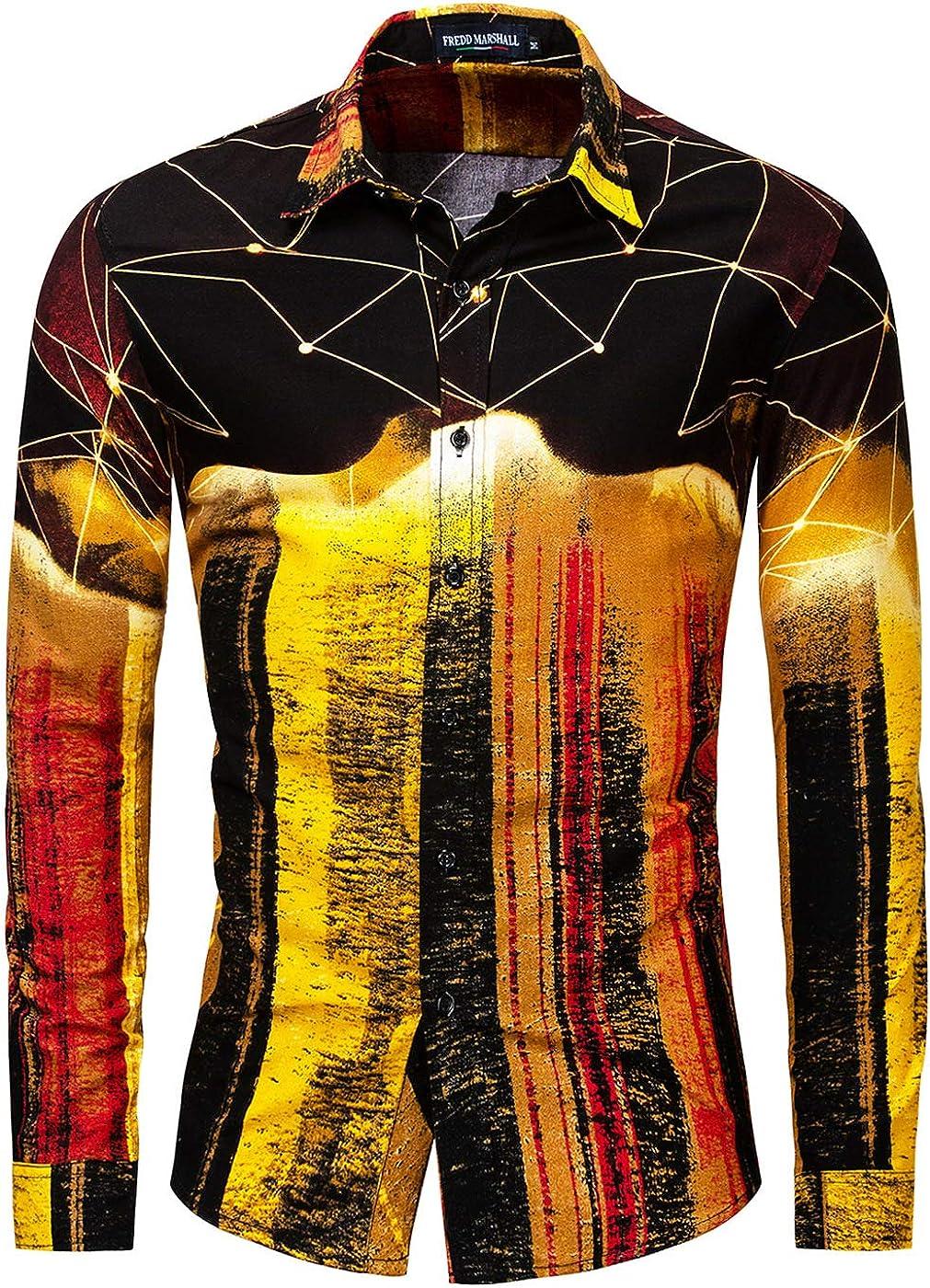 Men's Hawaiian 3D Print Vintage Long Sleeve Casual Slim Fit Shirt
