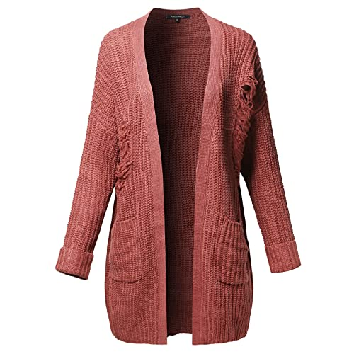 4cfd7905fc9a Awesome21 Women s Solid Distressed Open Front With Pocket Long Sleeve  Cardigan