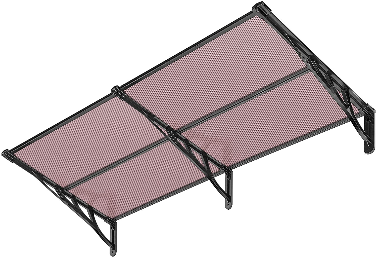 VIVOHOME Polycarbonate Spliced Window Door Awning Canopy Brown with Black Bracket 36 Inch x 80 Inch