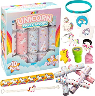 """10"""" Unicorn Party Table Favors Set,10 Pack No-Snap Party Favor with Unicorn Themed Toy, Joke Paper and Party Hat Inside fo..."""