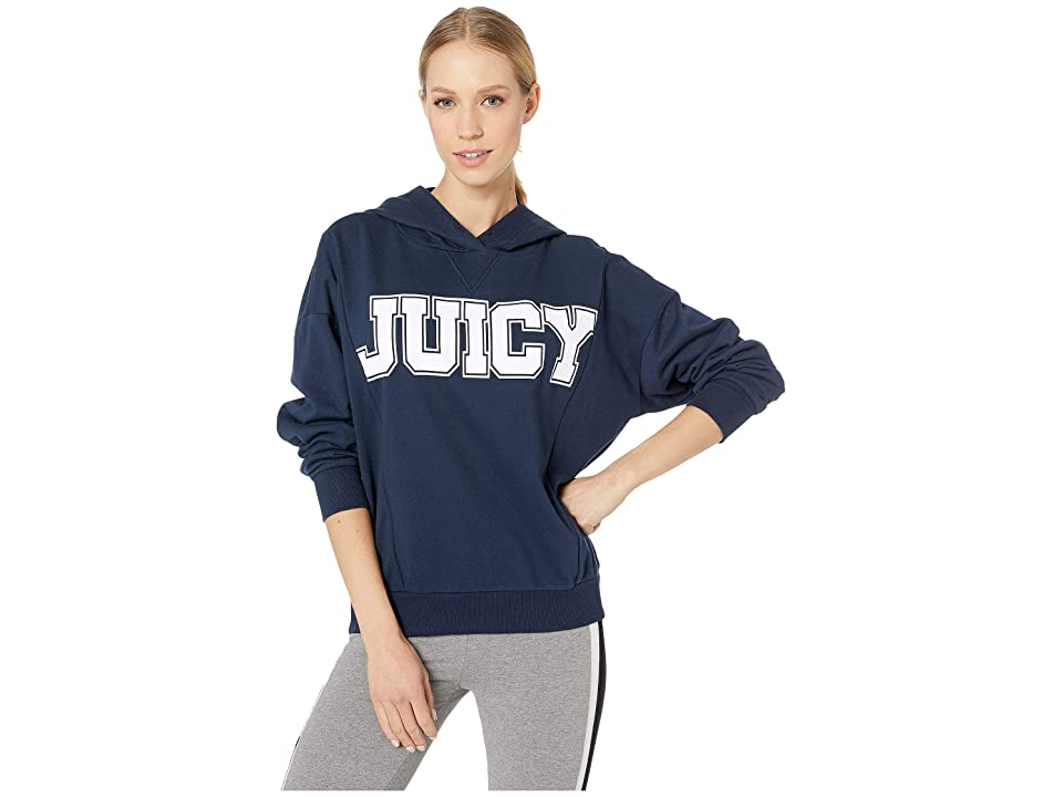Juicy Couture Oversize Logo Collegiate Hoodie (Regal) Women's Clothing, Navy