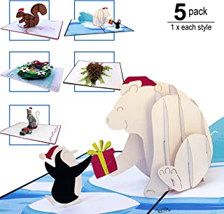 NDN LINE 3D Pop Up Christmas Card Holiday 5 Pack | X-MAS, Holiday Cards, New Years
