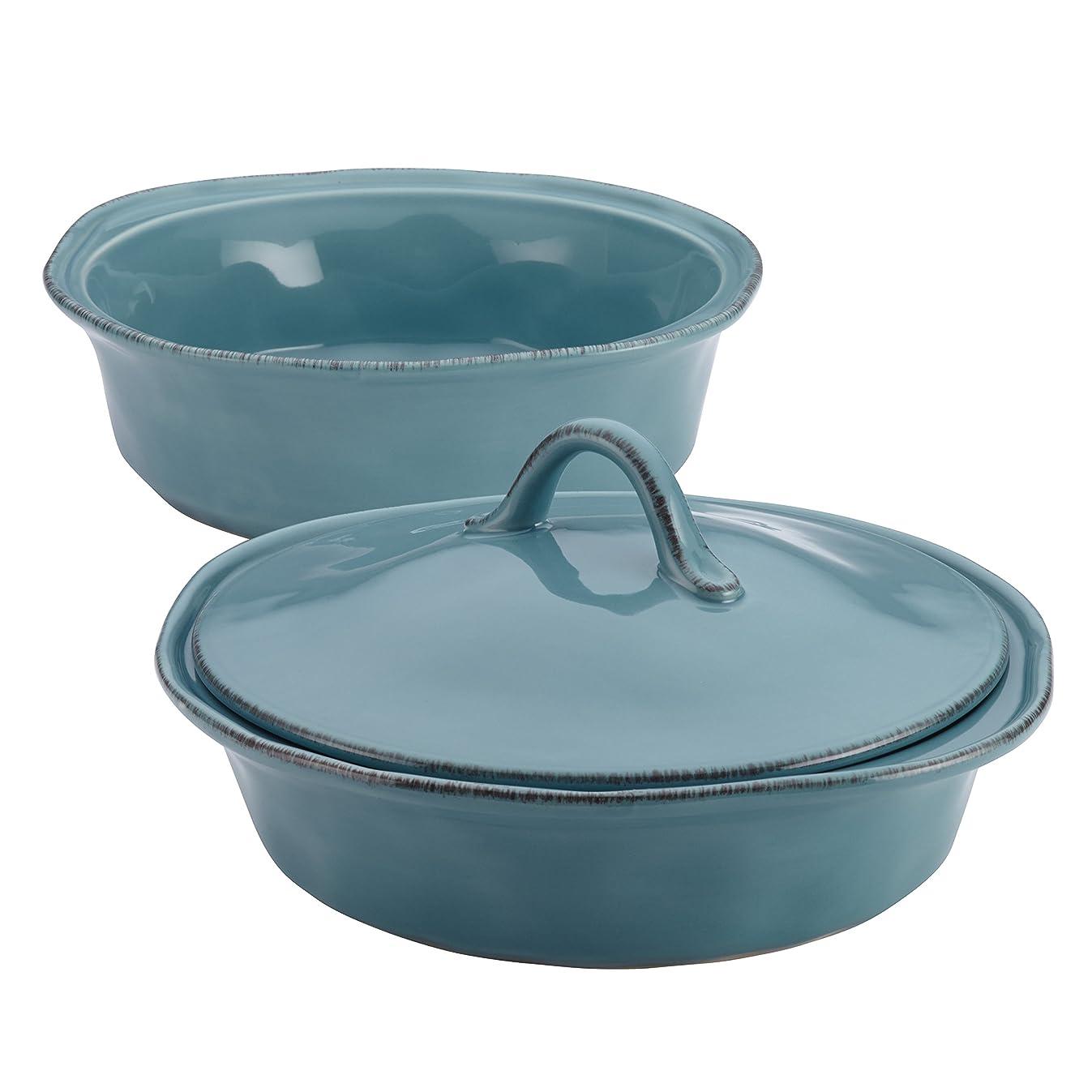 Rachael Ray 58314 Cucina Stoneware Casserole Set, 3-Piece Casserole & Lid, Agave Blue