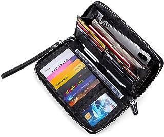 Women's RFID Blocking Wallet Real Leather Zip Around Clutch Large Travel Purse Wrist Strap
