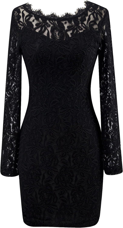 Angel-fashions Women's Transparent Floral Lace Round Neck Little Black Dress