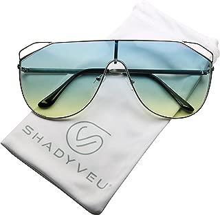 Oversize Flat Top Unisex Aviator Retro Shield Oceanic Flat Lens Metal Sunglasses