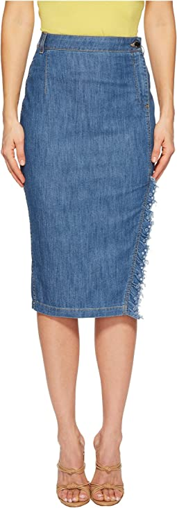Boutique Moschino - Skirt with Side Slit and Denim Fringe