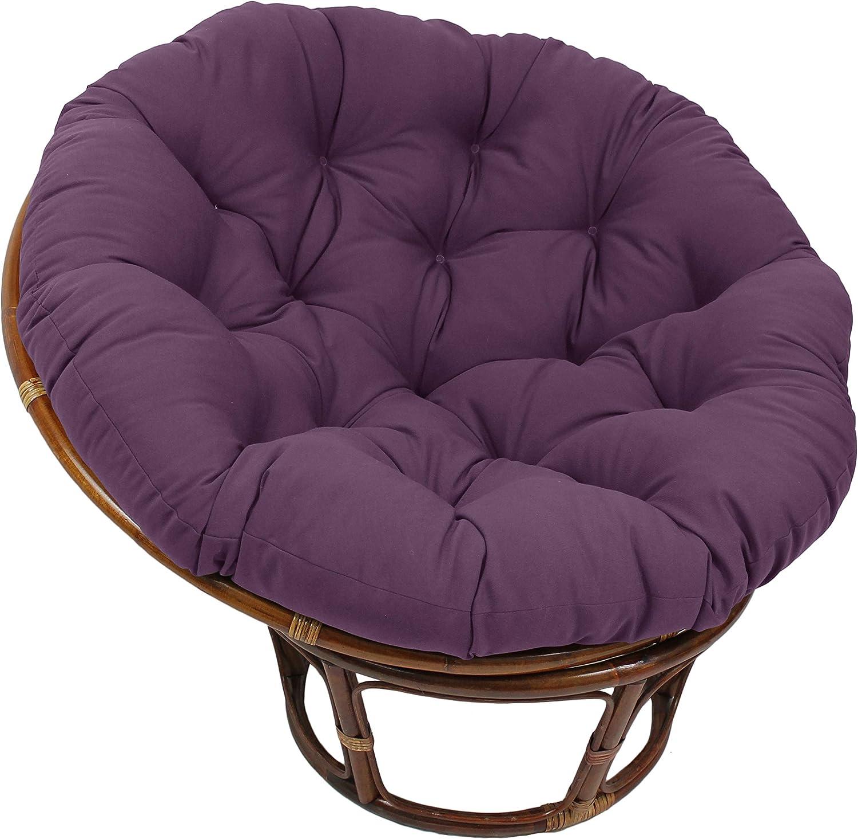 Blazing Needles Solid Twill Papasan Chair Cushion, 48  x 6  x 48 , Grape
