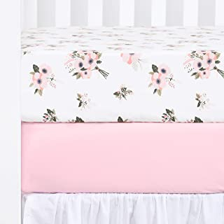 TILLYOU Printed Floral Crib Sheets Set, 100% Egyptian Cotton Toddler Sheet Set for Baby Girls, Soft Breathable Hypoallergenic, 28