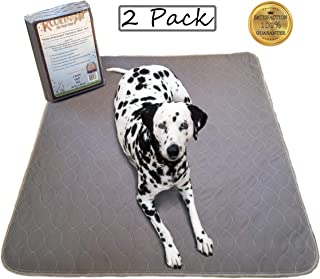 Kluein Pet Mat, Washable Pee Pads for Dogs, 2-Pack Grey 36x41, Reusable Puppy Training Pads, Whelping Box Liner, Playpen Mat, Travel Pad, Waterproof Rug