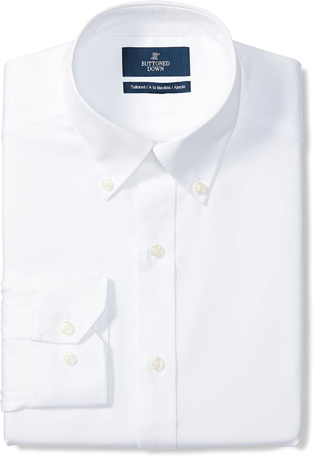 Buttoned Down Men's Tailored-fit Button-Collar Pinpoint Non-Iron Dress Shirt