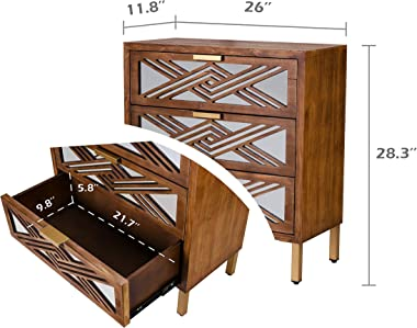 COZAYH 3-Drawer Accent Dresser with Mirror Fronts, Modern Farmhouse Accent Chest Clean-Lined Silhouette