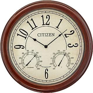 Citizen Clocks Citizen CC2057 Outdoor Wall Clock, Dark Brown