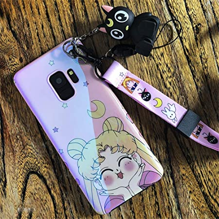 Japan Anime Cartoon Sailor Moon Case with Luna Cat Toy Holder Stand Strap Silicone Soft Phone Case Back Cover for Samsung S10 Plus Case Cover for Samsung S10 Plus