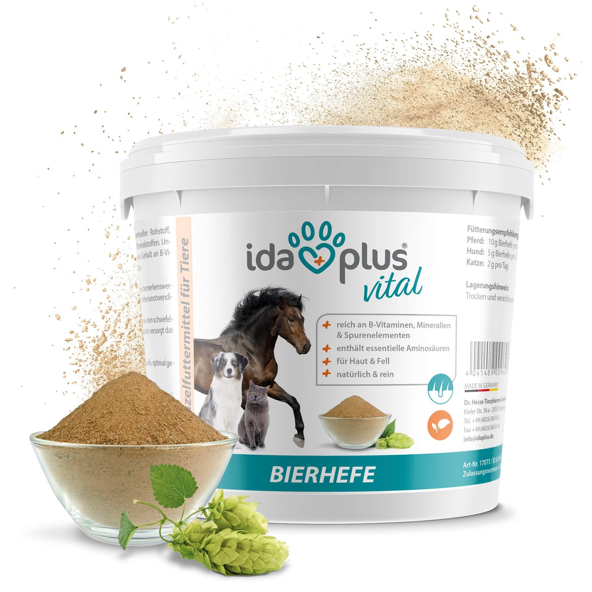 Ida Plus – Pura Cerveza Levadura Polvo – Alimentos Complemento para los & Pelo Brillo – Producto Natural para Animales – Caballos, Perros, Gatos – Práctica Cuchara dosificadora Incluye (1.5 kg): Amazon.es: Productos para mascotas