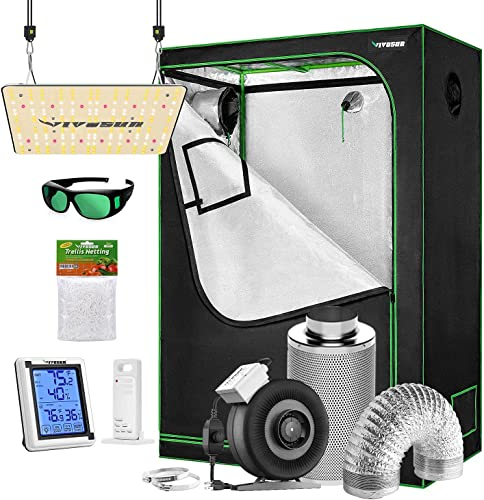 """high quality VIVOSUN popular Grow Tent Complete Kit, 60""""x32""""x80"""" Growing Tent with new arrival VS1000 Led Grow Light, Air Filtration Kit, Ducting Combo, Thermometer Humidity Monitor, Trellis Netting outlet sale"""