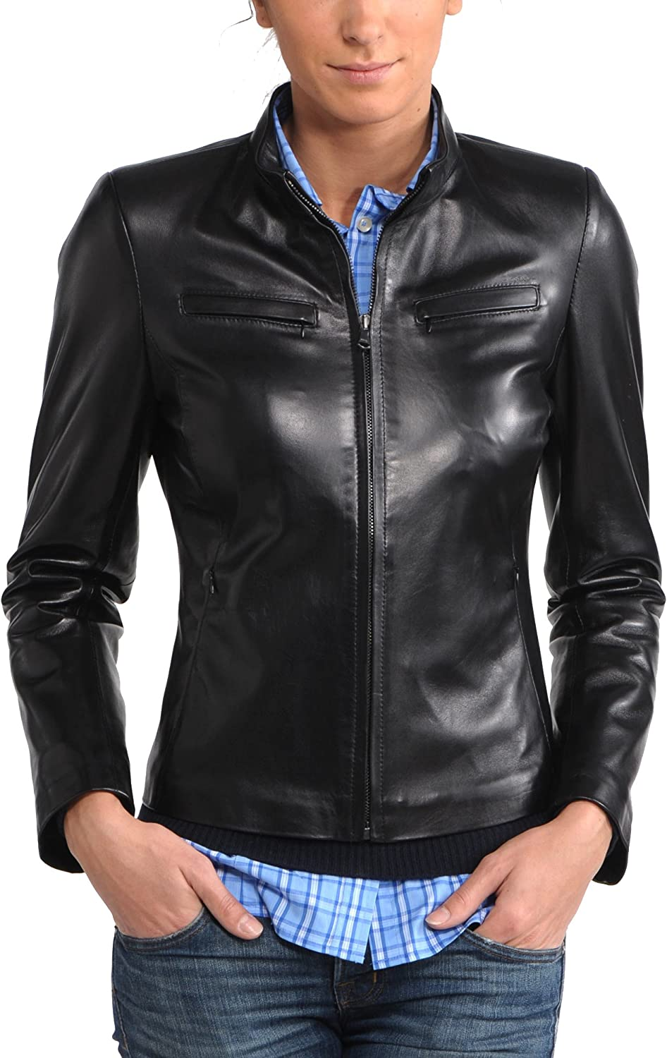 100% New Genuine Leather Lambskin Women Biker Motorcycle Jacket Ladies LTN233