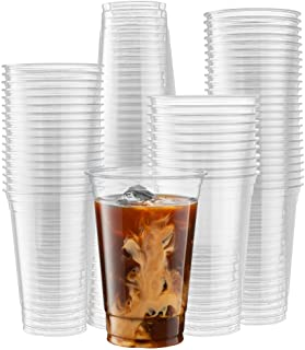 [100 Count] 20 Ounce Crystal Clear PET Cups for Iced Coffee, Cold Drinks, Slush, Smoothy's, Slurpee, Party's, Plastic Disp...