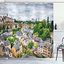 Ambesonne Landscape Shower Curtain, View of Old Town Area Luxembourg City Touristic Destination European Scenic Photo, Cloth Fabric Bathroom Decor Set with Hooks, 84 Long Extra, Yellow Gray